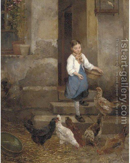 Feeding the Chickens by Camille Leopold Cabaillot Lassale - Reproduction Oil Painting