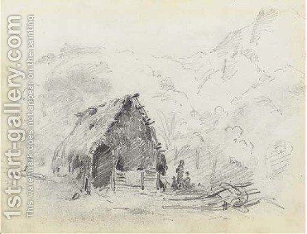 A hut in a mountainous landscape with a plough and figures by Camille Pissarro - Reproduction Oil Painting