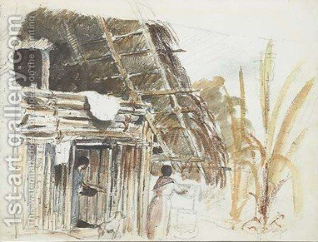 A hut with two women and a dog in the foreground, Galipan by Camille Pissarro - Reproduction Oil Painting
