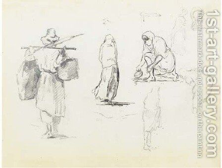 A man carrying two bags on a pole across his shoulders, and studies of women seen from behind and bending down by Camille Pissarro - Reproduction Oil Painting