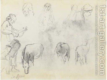 A man in profile to the left playing a guitar, studies of the heads of four women and three horses, San Jose by Camille Pissarro - Reproduction Oil Painting