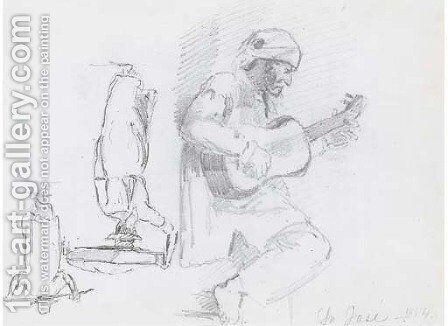A man in profile to the right playing a guitar, two figures seen from behind, one balancing a basket on his head by Camille Pissarro - Reproduction Oil Painting