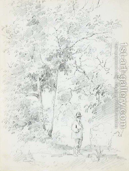 A man with a donkey in a forest by Camille Pissarro - Reproduction Oil Painting