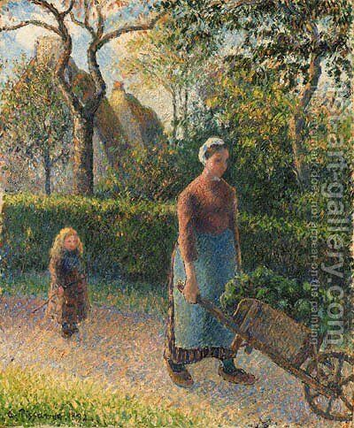 Femme la brouette by Camille Pissarro - Reproduction Oil Painting