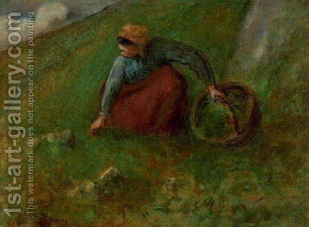 Femme cueillant de l'herbe by Camille Pissarro - Reproduction Oil Painting