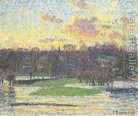 Inondation soleil couchant by Camille Pissarro - Reproduction Oil Painting
