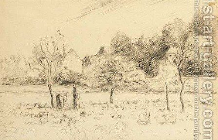 Jardin maraicher a l'Hermitage by Camille Pissarro - Reproduction Oil Painting