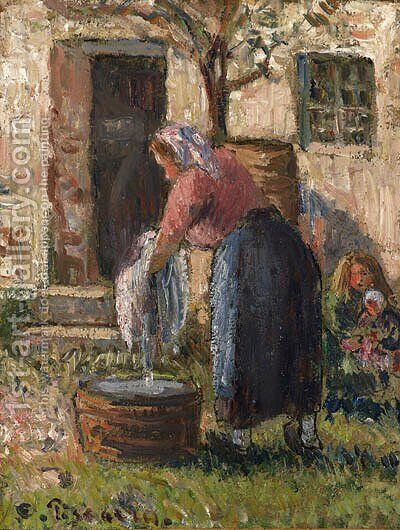La laveuse by Camille Pissarro - Reproduction Oil Painting