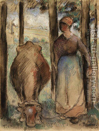 La Vachre (Young Peasant Woman and Cow) by Camille Pissarro - Reproduction Oil Painting