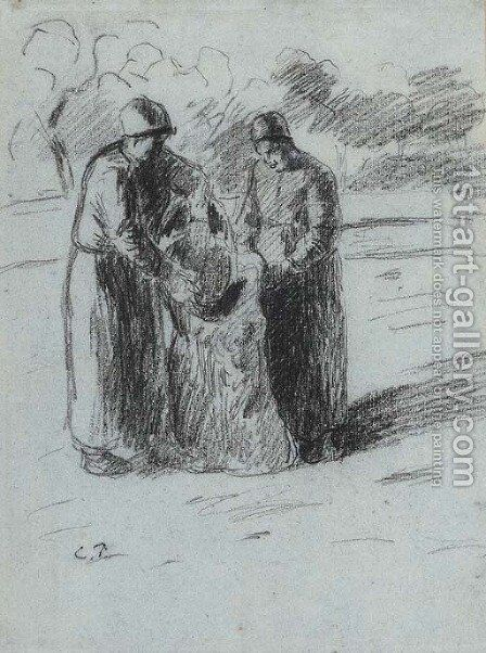 Les paysannes by Camille Pissarro - Reproduction Oil Painting