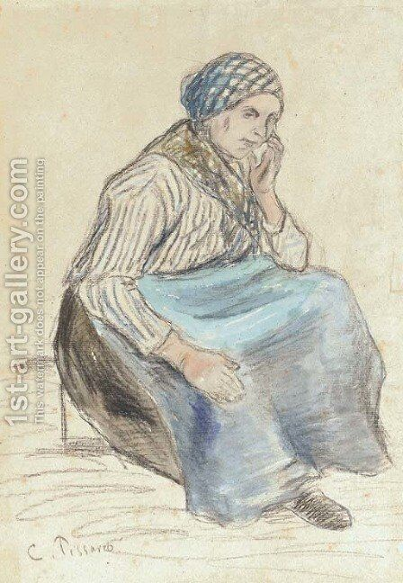 Paysanne assise by Camille Pissarro - Reproduction Oil Painting