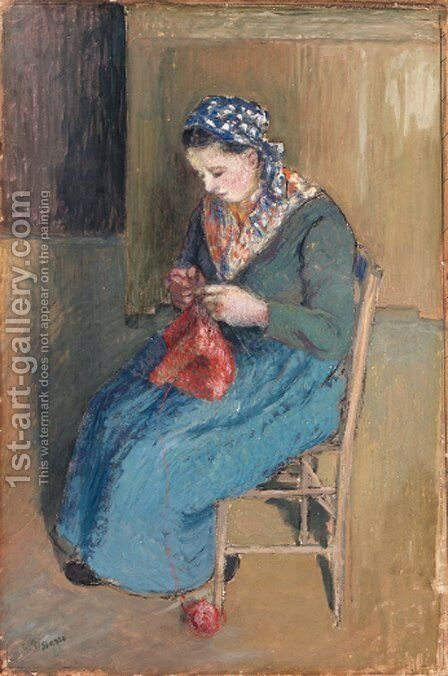 Paysanne assise et tricotant by Camille Pissarro - Reproduction Oil Painting