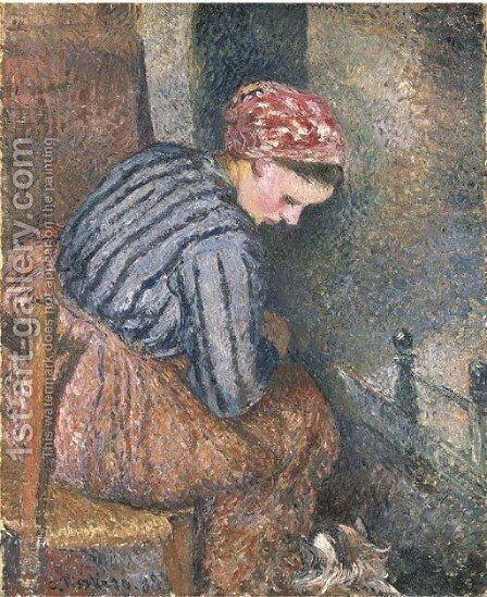 Paysanne se chauffant by Camille Pissarro - Reproduction Oil Painting