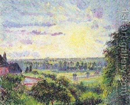 Soleil couchant a Eragny by Camille Pissarro - Reproduction Oil Painting