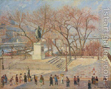 Statue d'Henri IV, matin, soleil by Camille Pissarro - Reproduction Oil Painting
