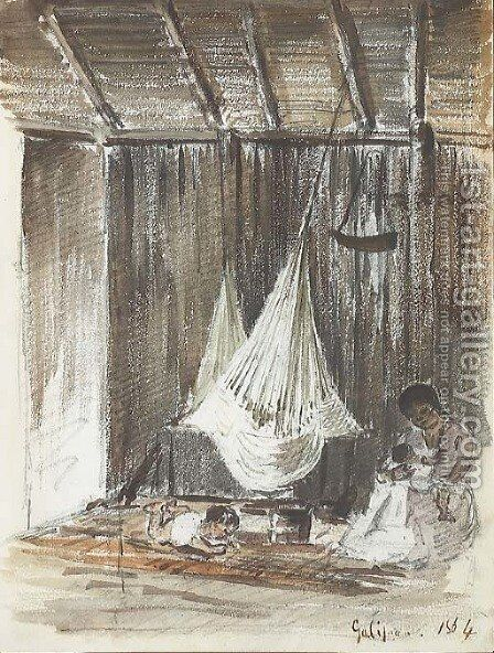 The interior of a hut with a hammock and an Indian mother with her two children, Galipan by Camille Pissarro - Reproduction Oil Painting