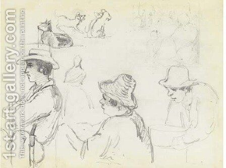 Three men in profile to the left, one holding a basin, with studies of dogs, a cat and a group of figures by Camille Pissarro - Reproduction Oil Painting