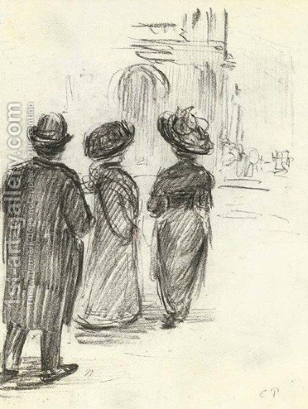 Trois figures by Camille Pissarro - Reproduction Oil Painting