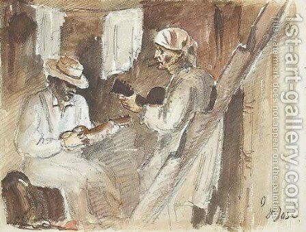 Two men playing the guitar in an interior in San Jose by Camille Pissarro - Reproduction Oil Painting