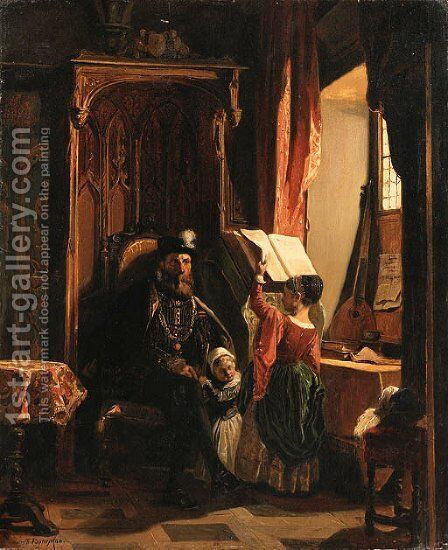 An afternoon of lessons by Camille-Joseph-Etienne Roqueplan - Reproduction Oil Painting