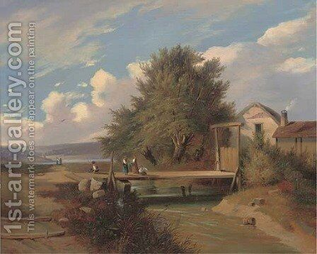 Anglers on a bridge by Camillo Hackensollner - Reproduction Oil Painting
