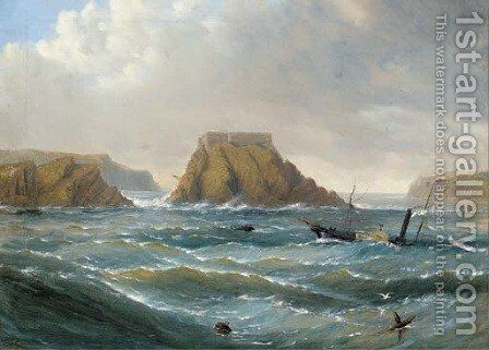 A paddle steamer in a heavy swell off a fortified rocky outcrop by Capt. John Haughton Forrest - Reproduction Oil Painting