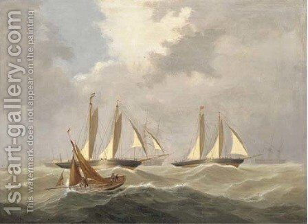 A racing cutter tacking across the mouth of the Dart by Capt. John Haughton Forrest - Reproduction Oil Painting