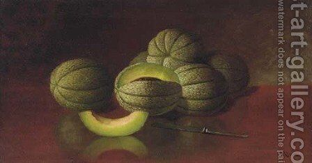 Still Life with Melons and Knife by Carducius Plantagenet Ream - Reproduction Oil Painting