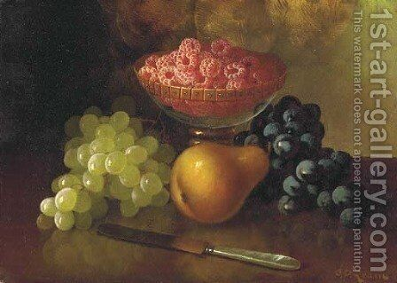 Still Life with Raspberries, Grapes and Pear by Carducius Plantagenet Ream - Reproduction Oil Painting