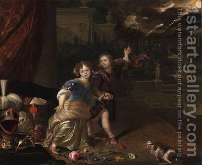 An allegorical portrait of two children by Carel de Moor - Reproduction Oil Painting