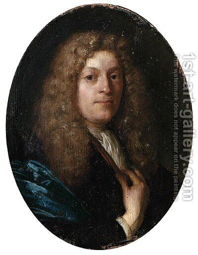 Portrait of a gentleman, aged 36, small bust-length, in a blue gown, with a full-bottomed wig by Carel de Moor - Reproduction Oil Painting