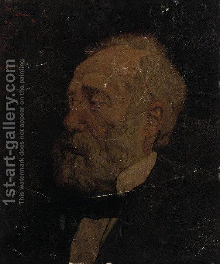 A portrait of the painter Jozef Israels by Charles Wild - Reproduction Oil Painting