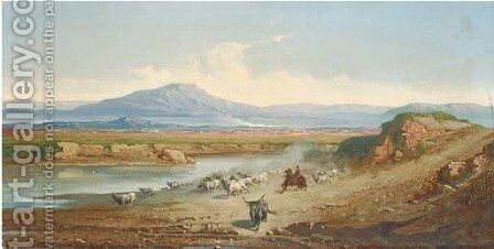 Herding Buffalo in the Roman campagna by Carel Max Gerlach Quaedvlieg - Reproduction Oil Painting