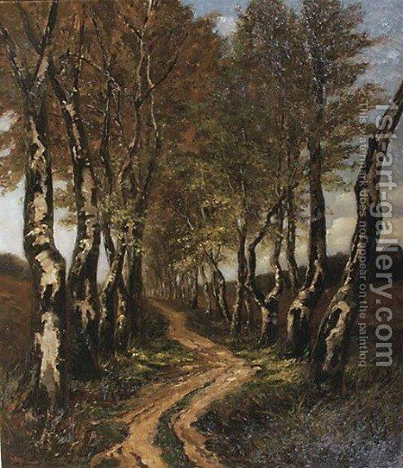 Birch trees along a lane by Carel Nicolaas Storm Van 's-Gravesande - Reproduction Oil Painting
