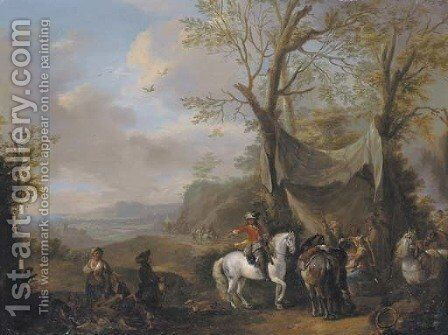 An extensive landscape with a hunting party taking refreshment under an awning by Carel van Falens or Valens - Reproduction Oil Painting