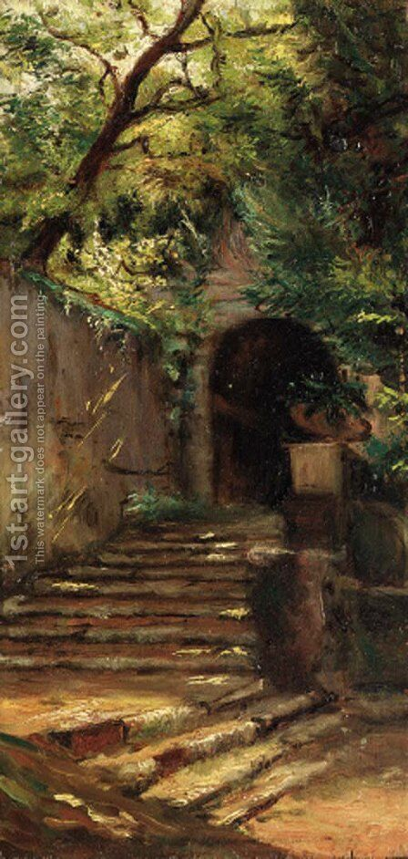 An entrance to an estate by Carl August Lebschee - Reproduction Oil Painting