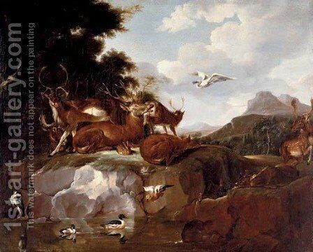 Deer, ducks, a rabbit, a spoonbill and other animals in a landscape by Carl Borromaus Andreas Ruthart - Reproduction Oil Painting