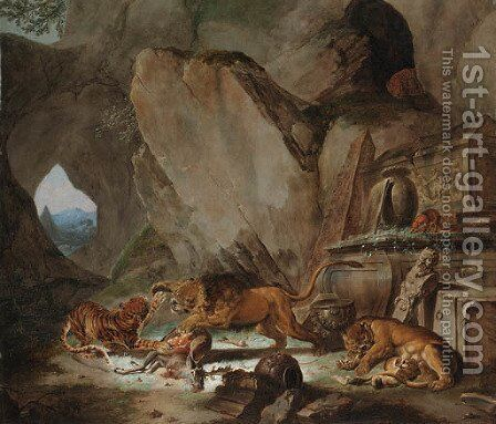 A lion and a tiger fighting over a fallen stag before a classical sarcophagus in a cave, a landscape with a pyramid beyond by Carl Borromaus Andreas Ruthart - Reproduction Oil Painting
