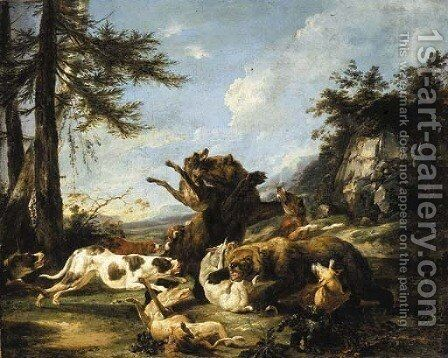 Bears and hounds fighting in a landscape by Carl Borromaus Andreas Ruthart - Reproduction Oil Painting