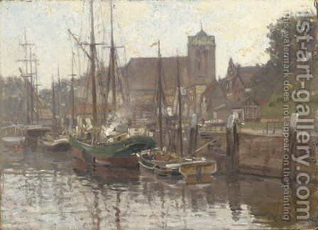 Boats moored on a canal by Carl Cowen Schirm - Reproduction Oil Painting