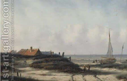 Fisherfolk by a village on the Dutch coast by Carl Eduard Ahrendts - Reproduction Oil Painting