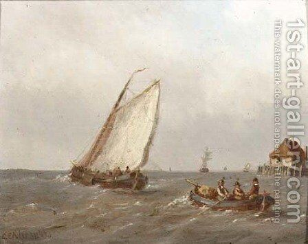 Heading for sea by Carl Eduard Ahrendts - Reproduction Oil Painting