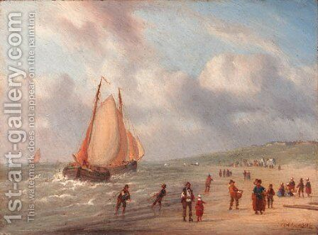 The arrival of the fishing fleet by Carl Eduard Ahrendts - Reproduction Oil Painting