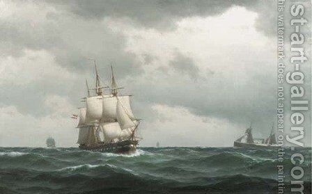 Tall ships and a steamer on open sea by Carl Emil Baagoe - Reproduction Oil Painting
