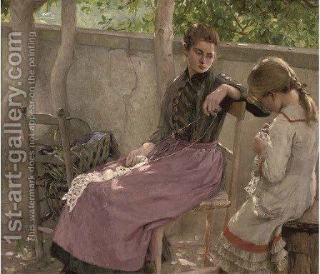 The knitting lesson by Carl Ernst von Stetten - Reproduction Oil Painting