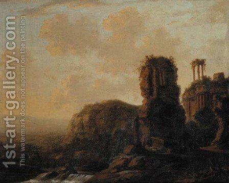 Extensive river landscaoes with capriccio of classical ruins by Carel Fabritius - Reproduction Oil Painting