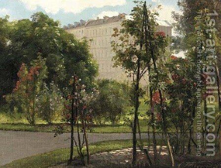 A colonnade on the edge of a park with roses in bloom by Carl Frederick Aagaard - Reproduction Oil Painting