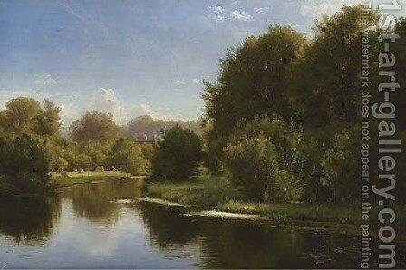 Landscape with a Stream by Carl Frederick Aagaard - Reproduction Oil Painting