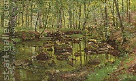 Mossy Rocks in a Stream by Carl Frederick Aagaard - Reproduction Oil Painting