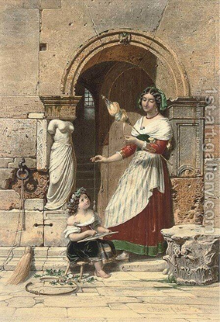 Spinning a yarn by Carl Friedrich H. Werner - Reproduction Oil Painting